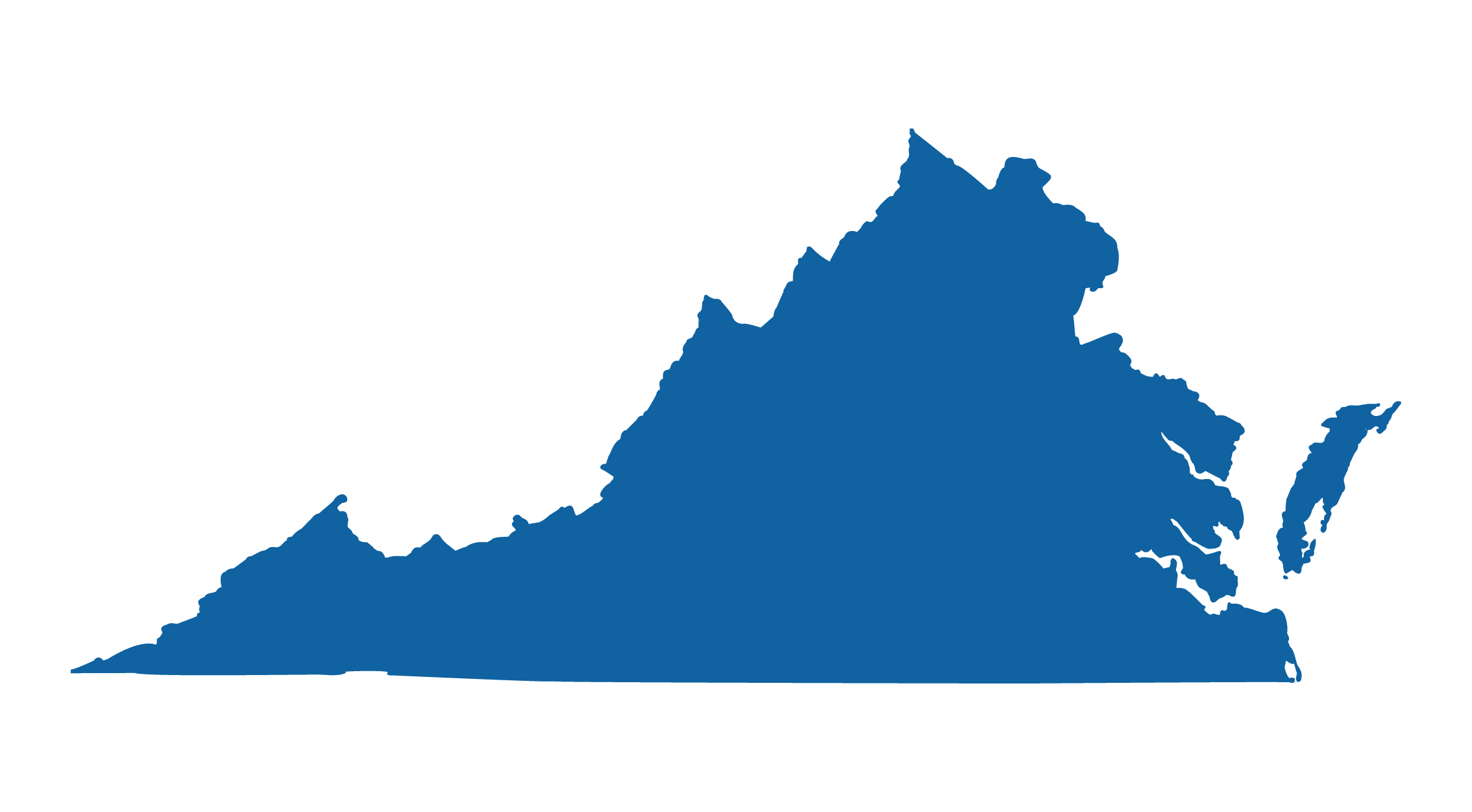Outline of the state of Virginia colored a solid blue